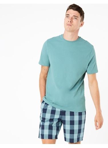 Marks & Spencer Saf Pamuklu Ekose Pijama Takımı Mavi